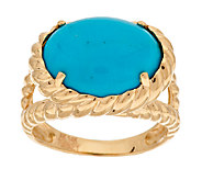 As Is 14K Gold Sleeping Beauty Turquoise Rope Design Ring - J322046