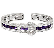 Judith Ripka Sterling 3.40 cttw Gemstone Buckle Cuff Bracelet - J322846