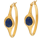Veronese 18K Clad Lapis Cabochon Hoop Earrings - J323946