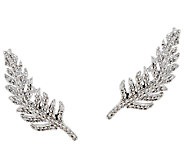 Feather Diamond Ear Climbers, Sterling, 1/4 cttw, by Affinity - J325846