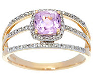 Cushion Cut Kunzite & Diamond Ring 14K Gold 1.00 ct - J329546