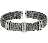 As Is Vicenza Silver Sterling Woven Diamonique Cuff Bracelet - J329746