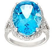 Oval Swiss Blue Topaz & White Topaz Sterling Ring 14.50 cttw - J329846