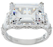 Judith Ripka Sterling Silver 15.25 cttw Diamonique Estate Ring - J331246