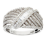 Baguette & Round Diamond Sterling Ring 3/4 cttw by Affinity - J331546