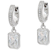 Judith Ripka Sterling_3.05 cttw Diamonique Hoop Earrings with Drop - J334146