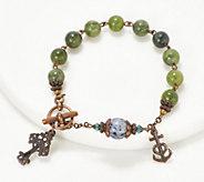 Connemara Marble Bronzetone Antiqued Rosary Bracelet - J334246