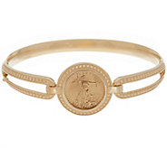 14K/22K Gold Large Liberty Coin Bangle Bracelet, 13.5g - J334646