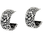JAI Sterling Silver Carved Floral Hoop Earrings - J346046