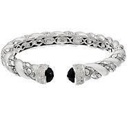 As Is JAI Sterling Black Onyx_Croco Texture Hinged Bracelet - J347446