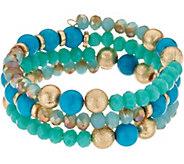 Simulated Turquoise & Goldtone Bead Bracelet - J347946