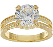 Judith Ripka 14K Clad 6.00 cttw. Diamonique Solitaire Ring - J348146