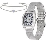 Diamonique Mesh Strap Watch Set, Boxed - J349946