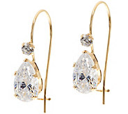Diamonique 2.10 ct tw Pear Earrings 14K Gold - J350446