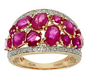 As Is Ruby, Emerald or Sapphire & Diamond Domed Ring 14K,2.50ct - J350846