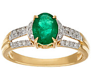 1.00 ct Columbian Emerald & 1/4 ct Diamond Ring, 14K Gold - J374746