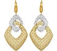 14K Two-Tone Interlocking Triangular LeverBackDangle Earrings - J376646