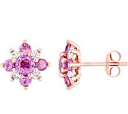 14K Rose Gold 1.65 cttw Sapphire Flower Earrings - J377046