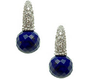 Judith Ripka Sterling Lapis Bead & Diamonique Earrings - J378246
