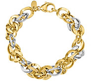 14K Two-tone Double Round Fancy Link Bracelet,11.1g - J378846