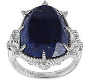 Judith Ripka Sterling Lapis & Diamonique Ring - J380046