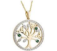 Solvar 14K Diamond & Emerald Accent Tree of Life Pendant - J380846