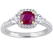 14K Gold 1.15 cttw Ruby & Diamond Three-Stone Halo Ring - J382346