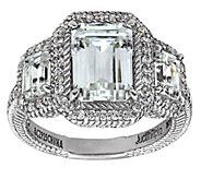 Judith Ripka Sterling 4.90 cttw 3-Stone EmeraldCut Halo Ring - J382446