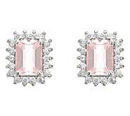 14K Gold 1.40 cttw Emerald-Cut Morganite Halo Stud Earrings - J382546