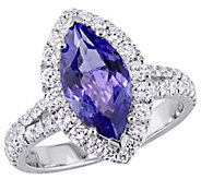 18K Gold 2.25 cttw Marquise Tanzanite & 9/10 cttw Diamond Ring - J383646