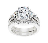 Diamonique 2.95 cttw 100-Facet Bridal Ring Set Platinum Clad - J262447