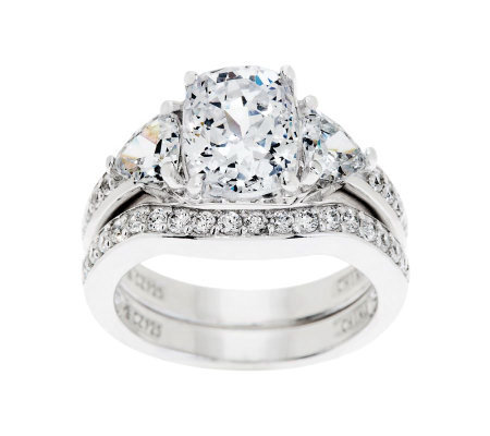 95 Cttw 100 Facet Bridal Ring Set Platinum Clad J262447