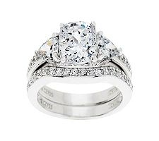 Epiphany Diamonique 2.95 ct tw 100-Facet 2-pc. Bridal Ring Set