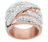Stainless Steel 18K Rose Gold Electroplated Highway Crystal Wrap Ring - J268147