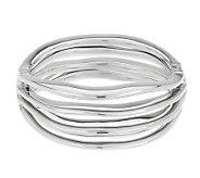 Vicenza Silver Sterling Average Bold Wave Design Hinged Bangle - J278047