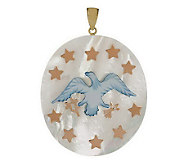 As Is Smithsonian Flag or Eagle Mother-of-Pearl Pendant, 14K - J282847