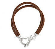 UltraFine Silver Polished Heart Toggle Leather Bracelet - J285547