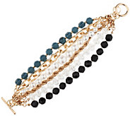 6-Strand Mixed Bead and Chain Convertible Bracelet - J297047
