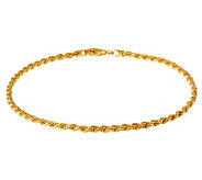 Veronese 18K Clad 11 Diamond-Cut Rope Chain Anklet - J302447