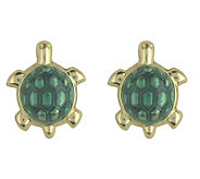 Little Princess Enamel Turtle Stud Earrings, 14K Gold - J303447