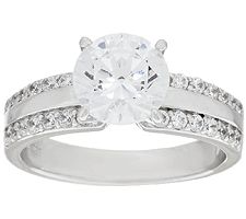 Epiphany Diamonique Solitaire Ring with High Polished Band