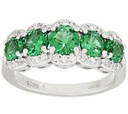 Diamonique & Simulated Gemstone 5 Stone Ring, Platinum Clad - J318647