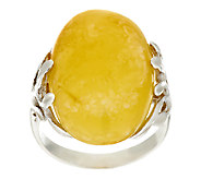 As Is Artisan Crafted Sterling Royal Amber Oval Ring - J318847