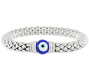Stainless Steel Evil Eye Popcorn Stretch Bracelet - J321447
