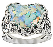 Sterling Silver Heart Shaped Roman Glass Lace Ring by Or Paz - J323347