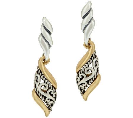 Carolyn Pollack Sterling & Brass Signature Scroll Earrings