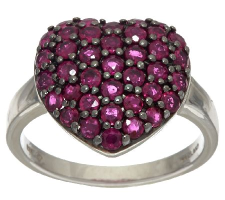 Thai Ruby Pave' Heart Shaped Sterling Silver Ring, 1.70 cttw