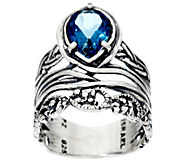Sterling Silver Pear Shaped 1.50ct Gemstone Textured Band Ring by Or Paz - J326747