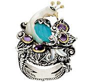 As Is Barbara Bixby Sterling & 18K Blue Chalcedony & Amethyst Ring - J327047