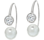 Diamonique Bezel Hoop w/ Simulated Pearl Sterling or 14K Clad - J328947